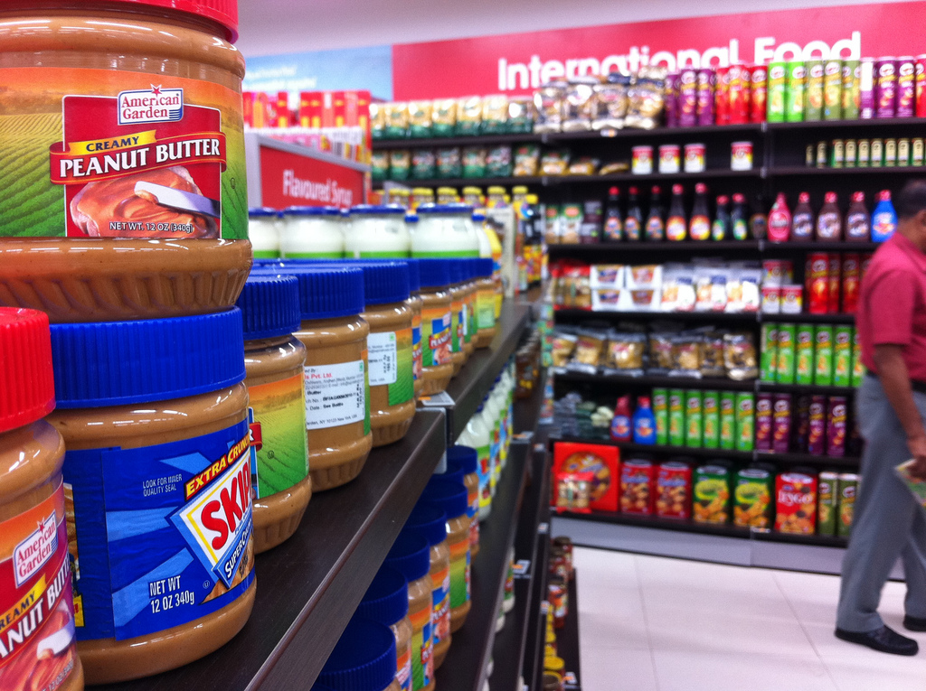 Peanut butter at a grocery store