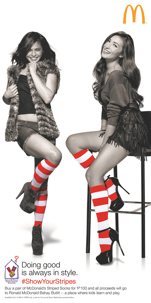 Lovi Poe and Solenn showing off their stripes for McDonald's (Photo courtesy of McDonald's Philippines)