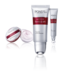 Pond's Age Miracle Firm & Lift Face and Neck lifting Day Cream, P749/50g, Pond's Age Miracle Firm & Lift Targeted Lifting Massager, P999/25ml, Pond's Age Miracle Firm & Lift Eye Contour Lifter, P649/15ml
