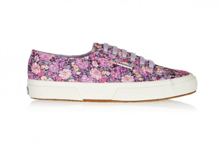 TRY: Superga 2750 Embroidered Floral Print features embroidery and lilac laces with a strong, breathable cotton upper in lightweight canvas and a natural vulcanized rubber sole.