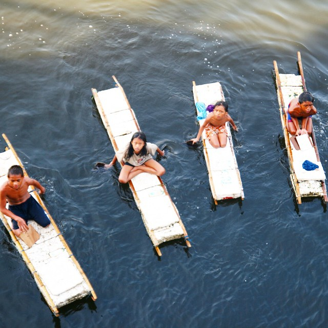 Styrofoam paddleboards made by these local Filipino children.