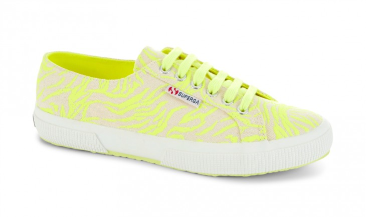 TRY: Superga 2750 in Yellow Fluo features zebra graphics in neon with a strong, breathable cotton upper in lightweight canvas and a natural vulcanized rubber sole.