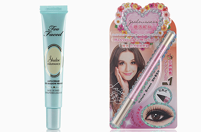 Try: Shadow Insurance Anti-Crease Eyeshadow Primer, P1,299, Too Faced (left) and Waterproof Gel Eyeliner, P810, Jealousness (right)