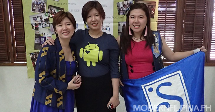 From left: Ria Lu from Unlock and Unload, maker of the Girl+ app; Marie Lu from Google Business Group, which will aid in the mapping project; and Maita Lu, president of Soroptomist  International of Parañaque