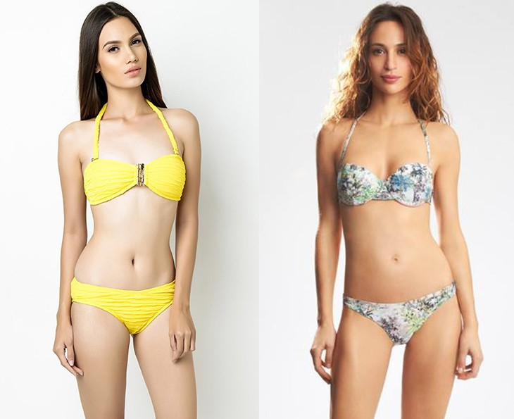 Try: Croatia Bandeau swimwear, P1,880, I Love Koi at Zalora (left); COCONUT Palm tree printed padded demi cup, P1,490, bikini bottom, P890, Etam (right)