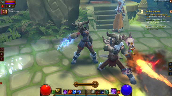 In-game screenshot of mine and my husband's characters in Torchlight 2