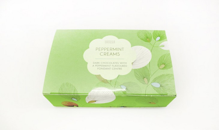 Peppermint Creams, P395 Dark chocolates with a peppermint flavoured fondant centre