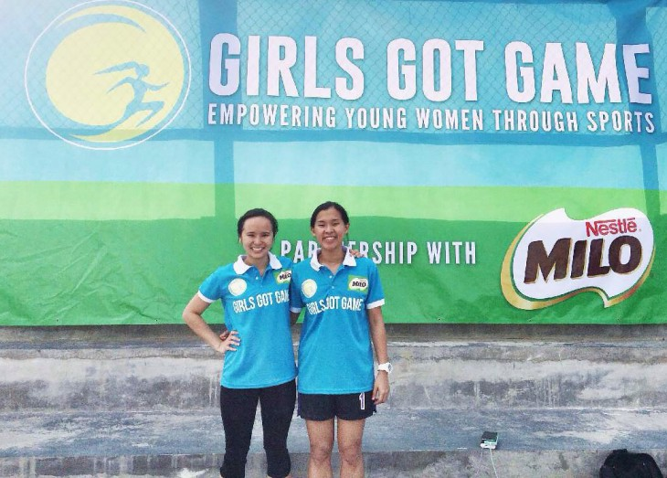 Girls Got Game founders and managing directors Nikka Arcilla (left) and Kryzanne Ty (right) pose proudly in front of their event tarp at their inaugural sports camp