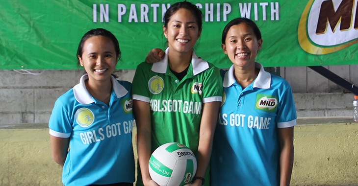 Girls Got Game founders and managing directors Nikka Arcilla (left) and Kryzanne Ty (right) with volleyball ambassador Gretchen Ho (center)
