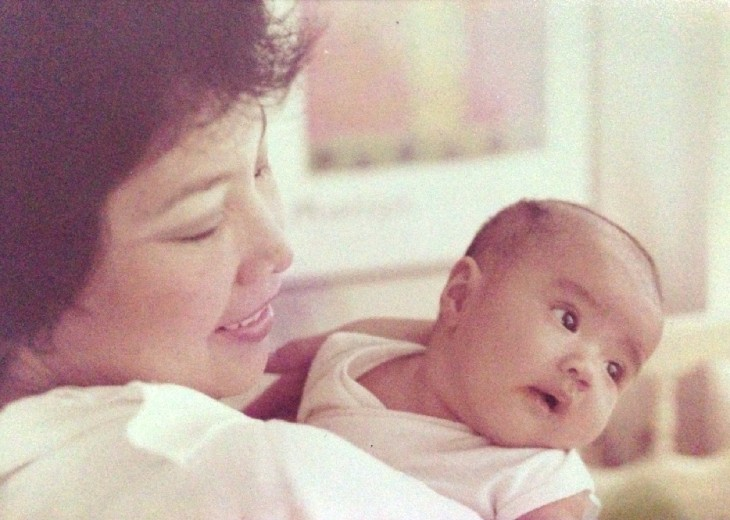 The author as a baby and her mom, Becky