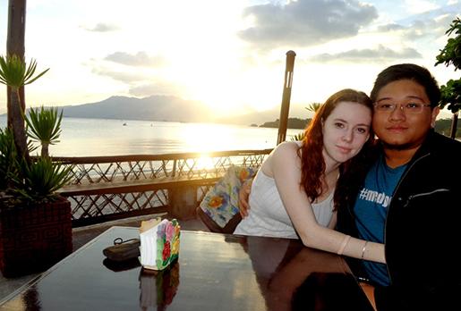 Enjoying the sunset over the ocean on our honeymoon in Olangapo