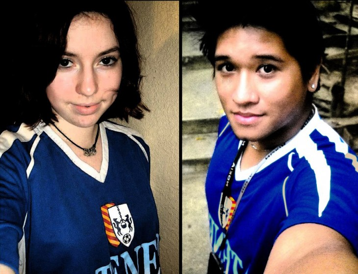 Proudly wearing his Ateneo football jersey that he mailed to me