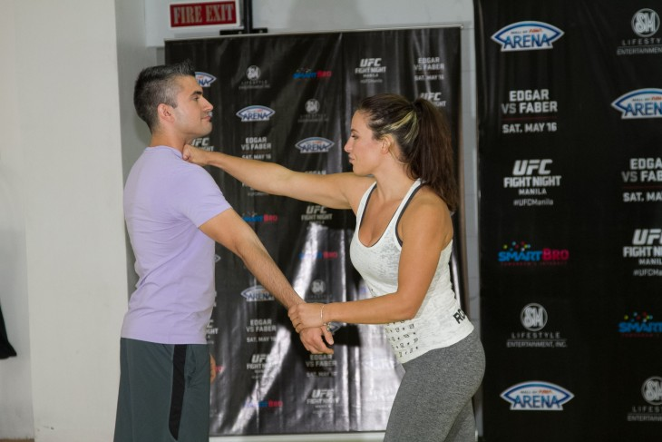 Miesha demonstrates a few basic self-defense moves she's picked up over her MMA career