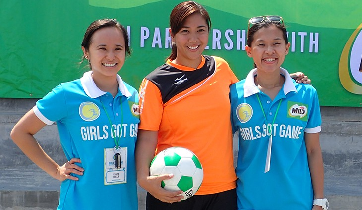 Marielle with Girls Got Game founders and managing directors Nikka Arcilla (left) and Krizanne Ty (right). Photo by the author.
