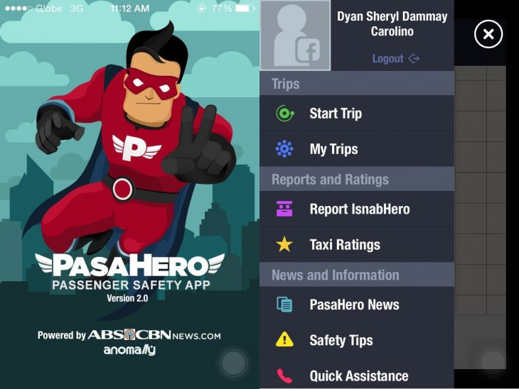 Screenshots of the PasaHero app taken directly from the author's phone