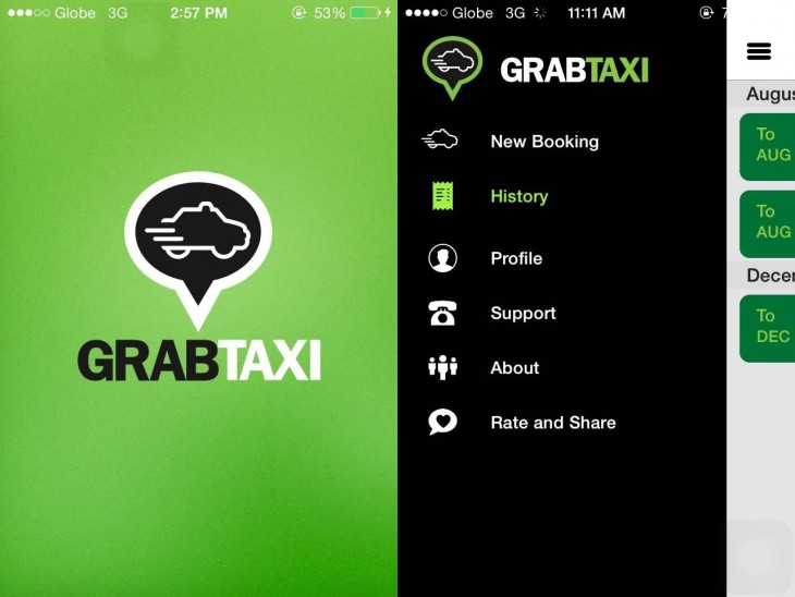 Screenshots of the GrabTaxi app taken directly from the author's phone