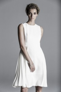 LAFAYETTE White sleeveless A-line midi dress