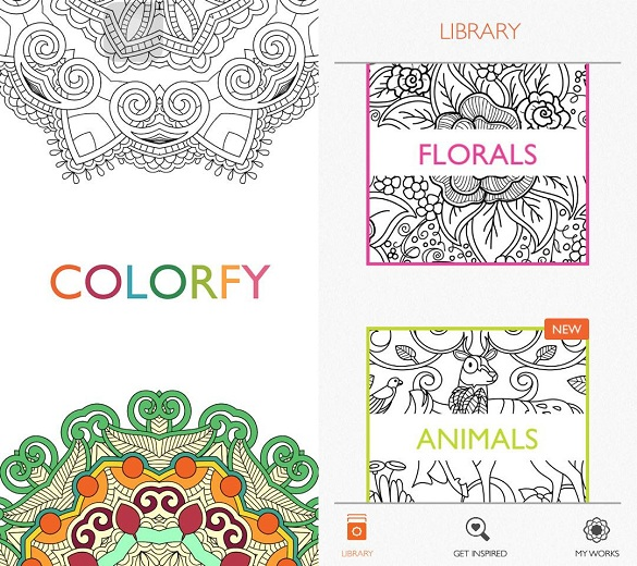 Screenshots of the Colorfy app taken directly from the author's phone