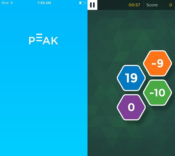 Screenshots of the Peak app taken directly from the author's phone