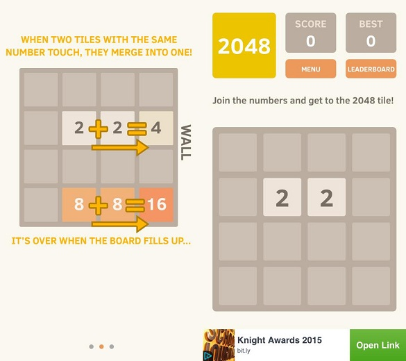 Screenshots of the 2048 app taken directly from the author's phone