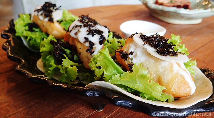 Fish and Roasted Sesame Taco, P190 (2 pieces) / P270 (3 pieces) Loro, salad greens, cucumber, seaweed, roasted sesame dressing