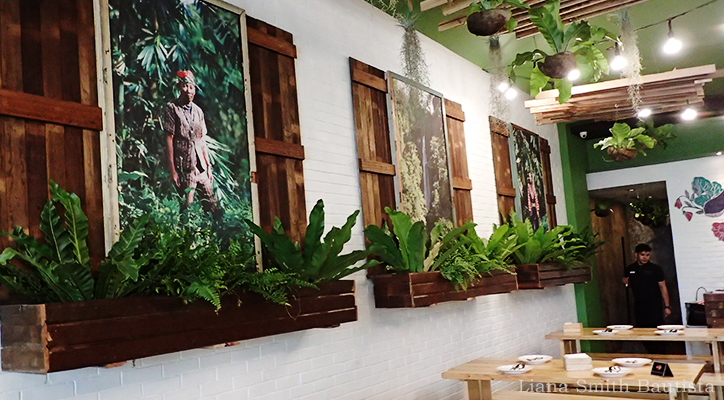 Paintings on the wall remind you of where your money goes when you dine at Earth Kitchen