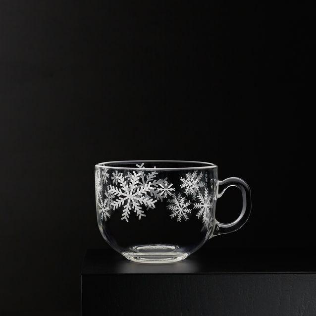 Glass Snowflake Soup Mug, P595