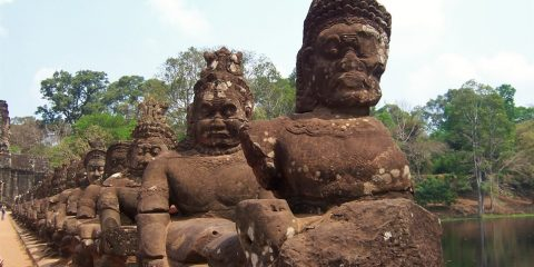 Statues Outside Angkor Thom's Victory Gate