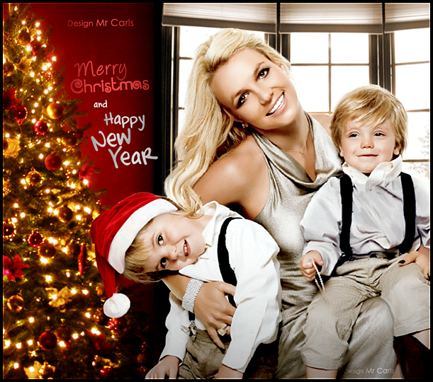 Britney Spears with her sons Christmas card