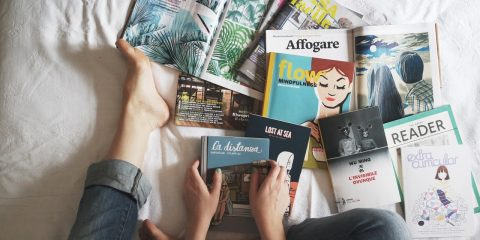 Magazines and Books on Bed