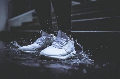 Shoes on a Rain Puddle