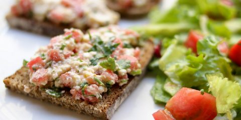 Organic Tomatoes on Toasted Bread