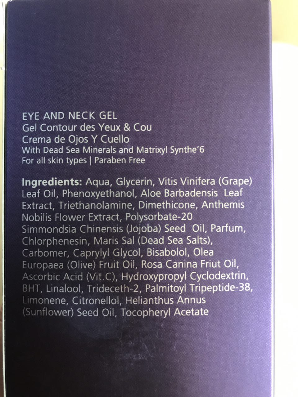 Ingredients of the Jericho Premium Eye and Neck Gel